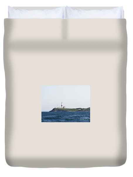 Montauk Lighthouse From The Atlantic Ocean Duvet Cover