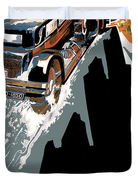 Monte Carlo - Vintage Poster Duvet Cover by World Art Prints And Designs