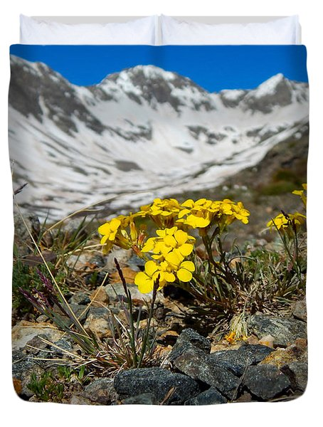 Blue Lakes Colorado Wildflowers Duvet Cover
