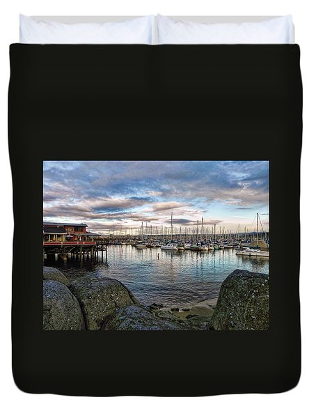 Duvet Cover featuring the photograph Monterey Marina California by Kathy Churchman