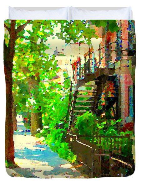 Montreal Art Colorful Winding Staircase Scenes Tree Lined Streets Of Verdun Art By Carole Spandau Duvet Cover by Carole Spandau