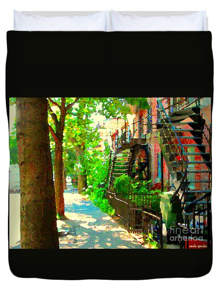Montreal Art Colorful Winding Staircase Scenes Tree Lined Streets Of Verdun Art By Carole Spandau Duvet Cover