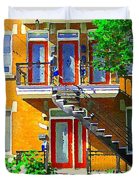 Montreal Art Seeing Red Verdun Wooden Doors And Fire Hydrant Triplex City Scene Carole Spandau Duvet Cover by Carole Spandau