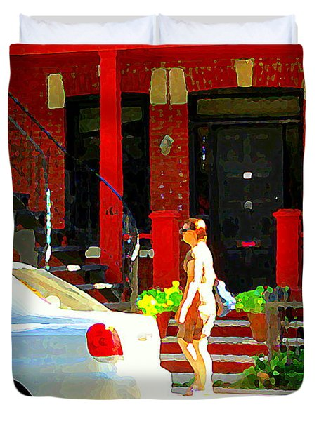 Montreal Art Summer Stroll On A Sunny Morning Colorful Street Verdun City Scene Carole Spandau Duvet Cover by Carole Spandau