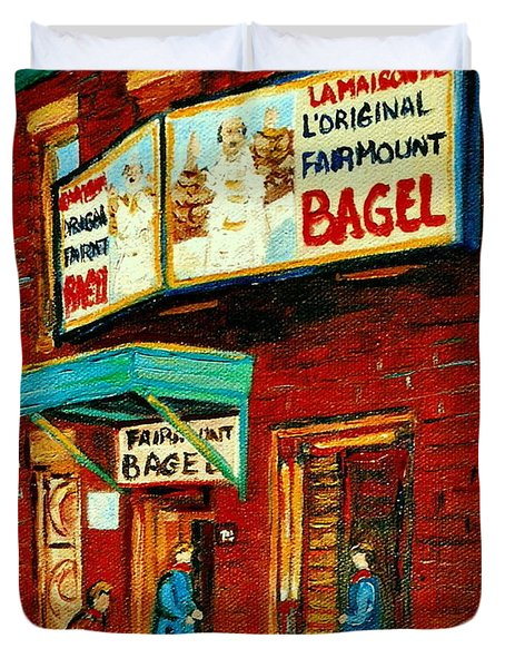 Montreal Bagel Factory Famous Brick Building On Fairmount Street Vintage Paintings Of Montreal  Duvet Cover by Carole Spandau