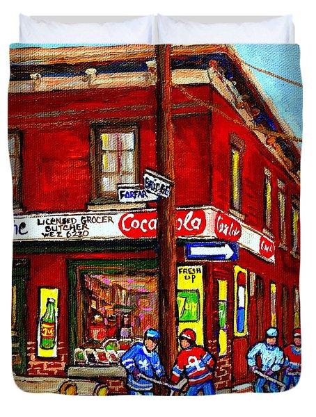 Montreal Depanneur Epicerie Boucherie Coca Cola South West Montreal Winter Pantings Hockey Art  Duvet Cover by Carole Spandau