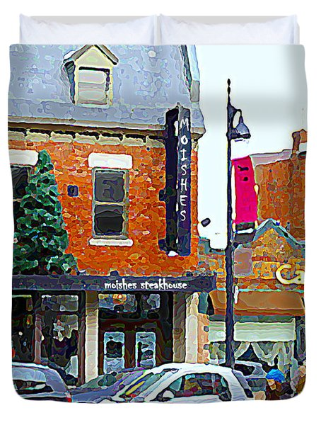 Montreal Memories Moishes Famous Steakhouse Restaurant On The Main Busy Winter Scene Carole Spandau Duvet Cover by Carole Spandau