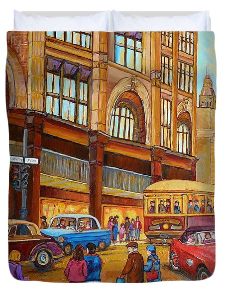 Montreal Memories-streetcars-morgan's Department Store At St.catherine And Union Duvet Cover by Carole Spandau