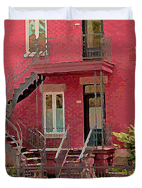 Montreal Memories The Old Neighborhood Timeless Triplex With Spiral Staircase City Scene C Spandau  Duvet Cover by Carole Spandau