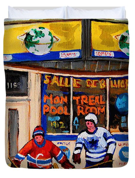 Montreal Pool Room City Scene With Hockey Duvet Cover by Carole Spandau