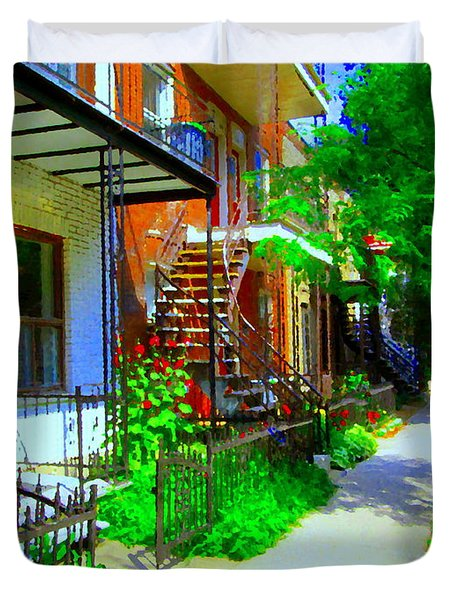 Montreal Stairs Shady Streets Winding Staircases In Balconville Art Of Verdun Scenes Carole Spandau Duvet Cover by Carole Spandau