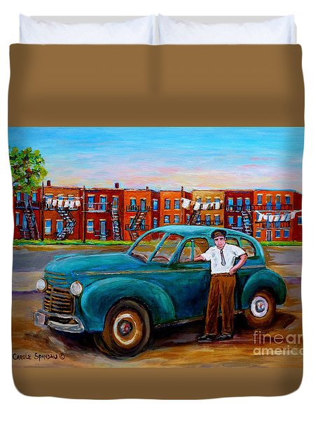 Montreal Taxi Driver 1940 Cab Vintage Car Montreal Memories Row Houses City Scenes Carole Spandau Duvet Cover by Carole Spandau