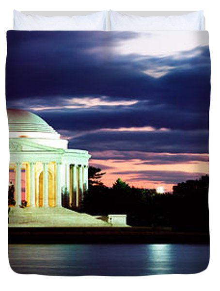 Monument Lit Up At Dusk, Jefferson Duvet Cover by Panoramic Images