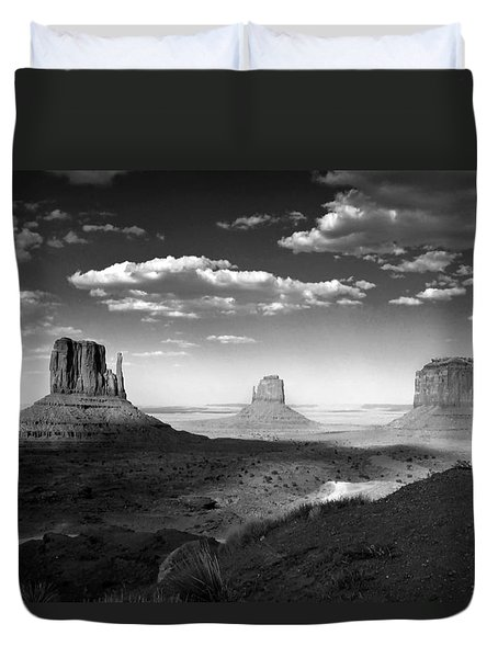 Monument Valley In Black And White Duvet Cover