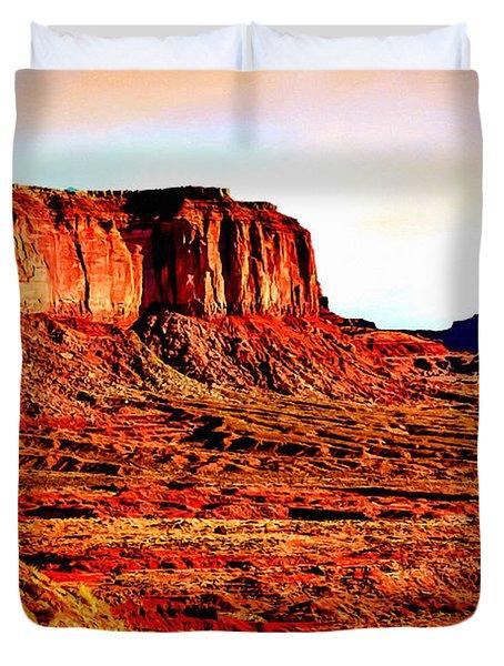 Monument Valley Sunset By Bob Johnston Duvet Cover by Bob and Nadine Johnston
