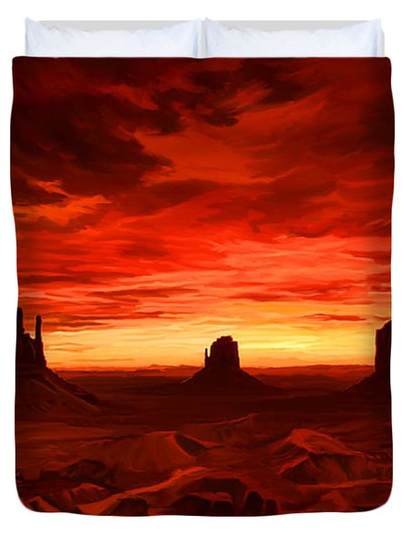 Duvet Cover featuring the painting Monument Valley Sunset by Tim Gilliland