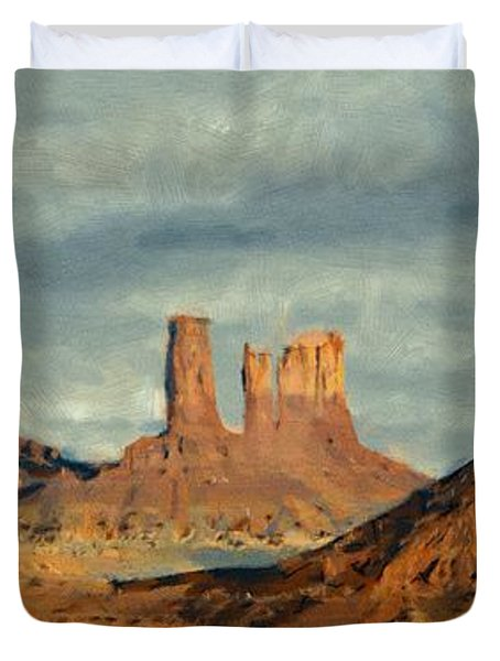 Duvet Cover featuring the painting Monumental by Jeff Kolker
