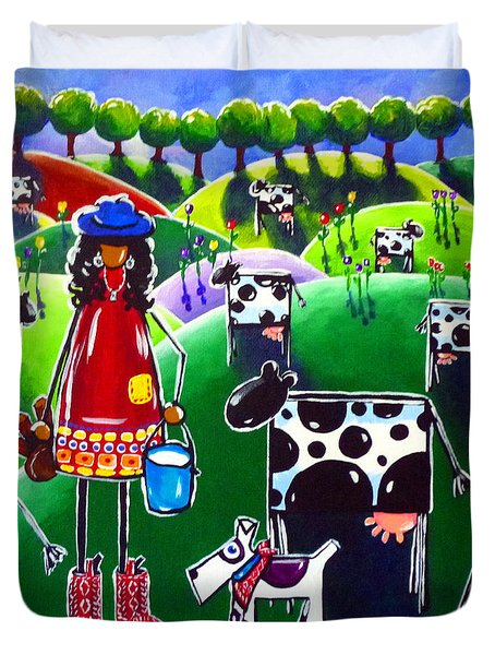 Moo Cow Farm Duvet Cover by Jackie Carpenter