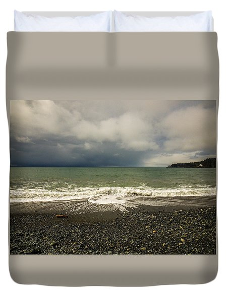 Moody Swirl French Beach Duvet Cover by Roxy Hurtubise