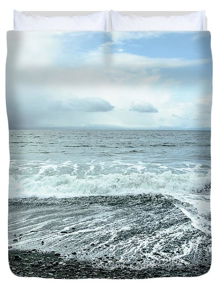 Moody Waves French Beach Duvet Cover