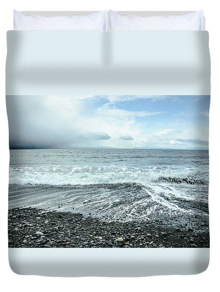 Moody Waves French Beach Duvet Cover by Roxy Hurtubise