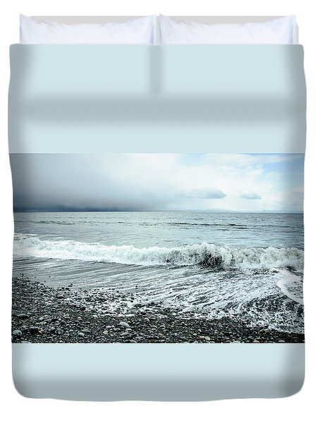 Moody Shoreline French Beach Duvet Cover by Roxy Hurtubise