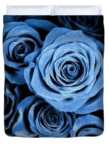 Moody Blue Rose Bouquet Duvet Cover by Adam Romanowicz