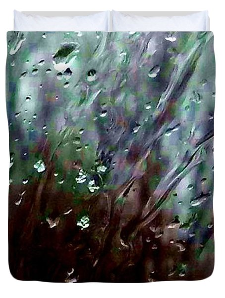 Duvet Cover featuring the photograph Moody Blues Rain On The Window Series 2 Abstract Photo by Marianne Dow
