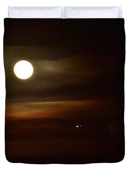 Moon And Clouds Iv With Airplane Duvet Cover