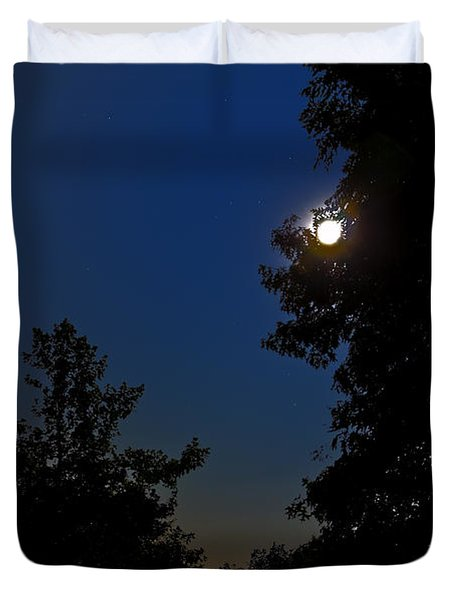 Duvet Cover featuring the photograph Moon And Pegasus by Greg Reed