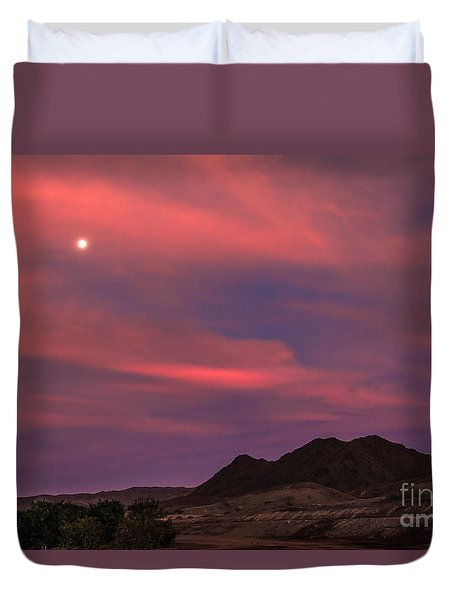 Moon And Sunrise Duvet Cover by Robert Bales