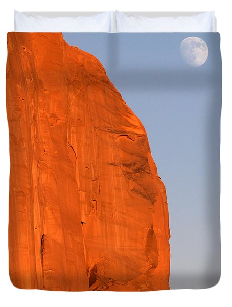 Moon At Monument Valley Duvet Cover