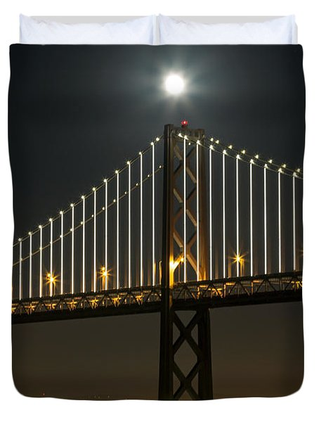 Duvet Cover featuring the photograph Moon Atop The Bridge by Kate Brown