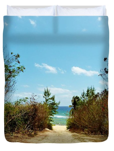 Duvet Cover featuring the photograph Moon Bay Walk by Amar Sheow