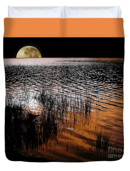Moon Catching A Glimpse Of Sunset Duvet Cover