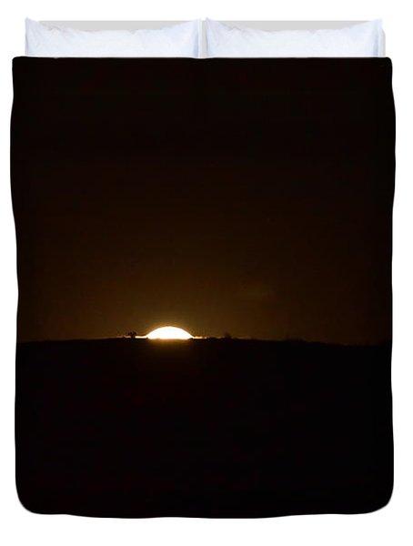 Moon Creeping Over Hillside Duvet Cover