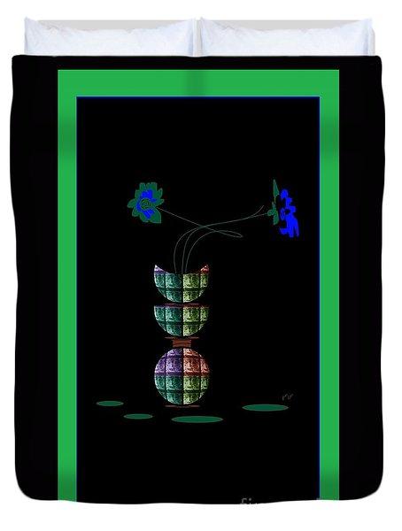 Duvet Cover featuring the digital art Moon Flower 1 by Ann Calvo