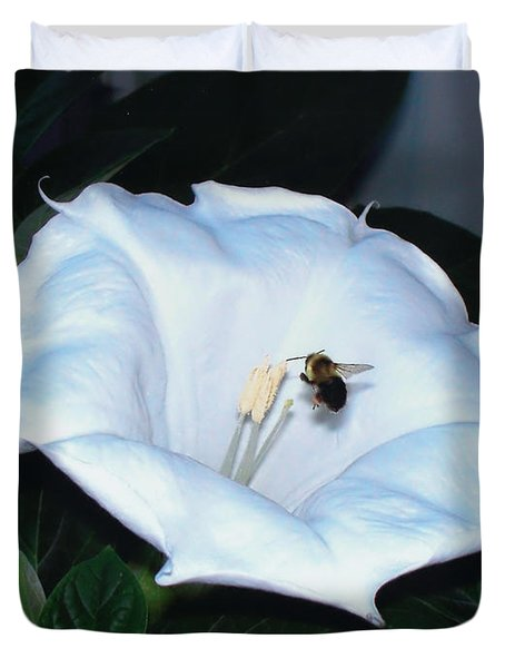 Duvet Cover featuring the photograph Moon Flower by Thomas Woolworth