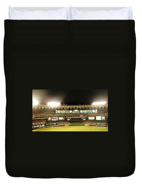 Duvet Cover featuring the photograph Moon In The Arches-edited by Kelly Awad