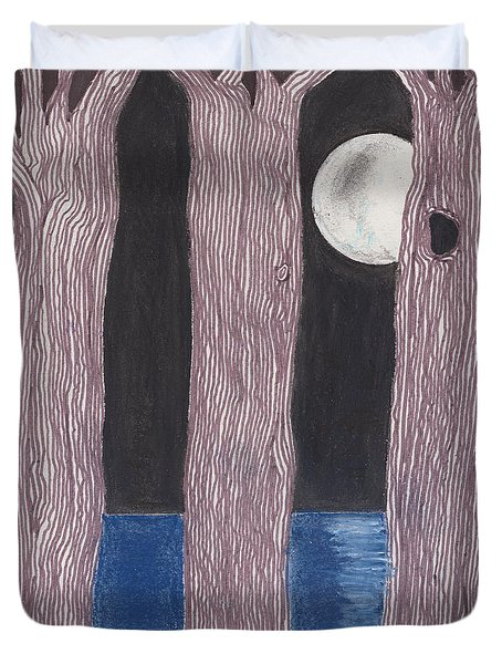 Duvet Cover featuring the mixed media Moon Light by David Jackson