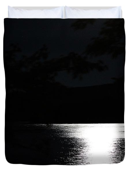 Duvet Cover featuring the photograph Moon On Waterton Lake by Ann E Robson