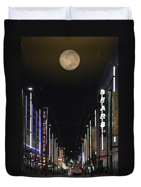 Moon Over Granville Street Duvet Cover by Ben and Raisa Gertsberg
