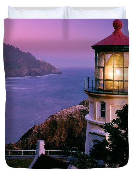 Moon Over Heceta Head Duvet Cover