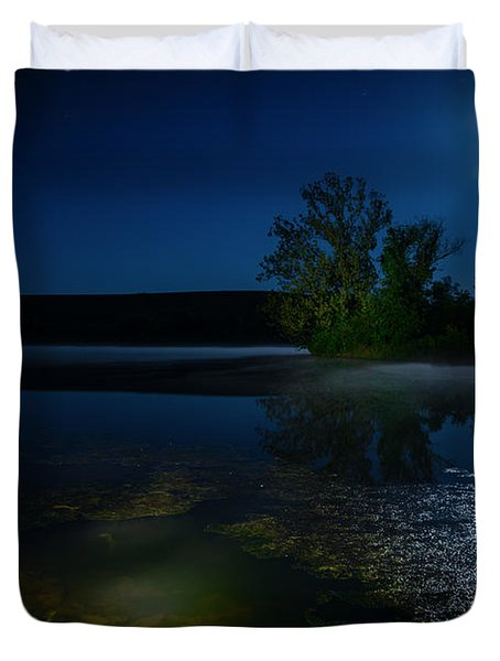 Moon Over Lake Duvet Cover by Alexey Stiop