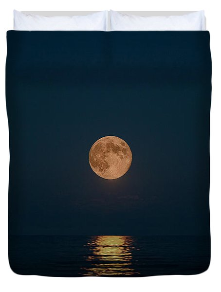 Moon Over Lake Of Shining Waters Duvet Cover by Barbara McMahon