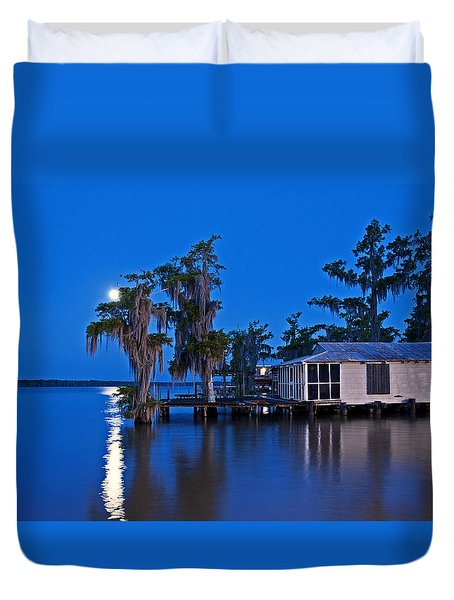 Moon Over Lake Verret Duvet Cover