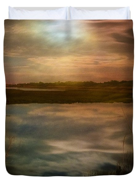 Moon Over Marsh - 35mm Film Duvet Cover by Gary Heller