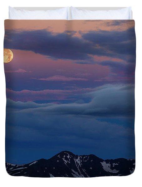 Moon Over Rockies Duvet Cover
