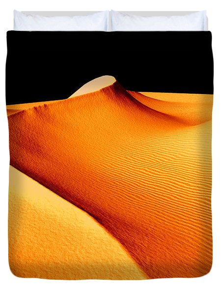Moon Over Sand Dunes Duvet Cover