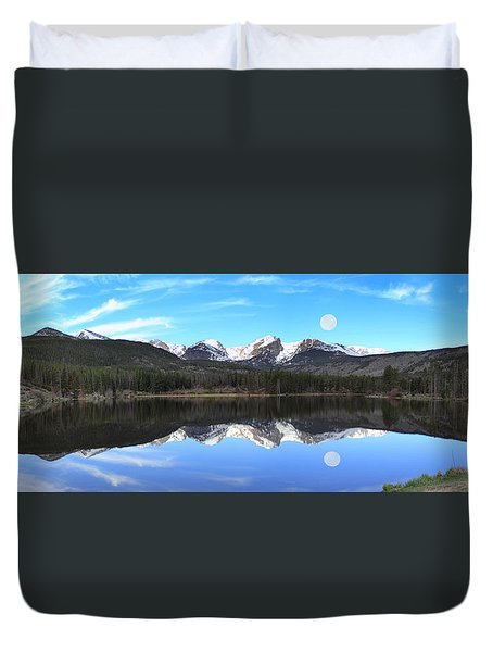 Moon Over Sprague Lake Duvet Cover
